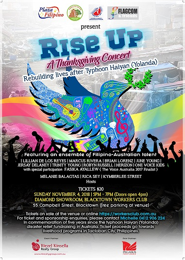 The Filipino-Australian community is organising a Thanksgiving Concert to commemorate five years since supertyphoon Haiyan (Yolanda) struck the Philippines.